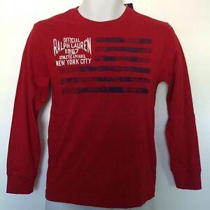 Ralph Lauren Boys T-Shirt Red American Flag Polo RL Graphics LS Sz M 10-12 NWT