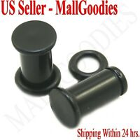 0933 Black Acrylic Single Flare Ear Plugs 2 Gauge 2G 6mm MallGoodies One 1 Pair