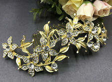 Gold tone hair comb bridal wedding crystal rhinestone hair accessories ha268325
