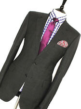 MENS GIEVES & HAWKES SAVILE ROW TAILOR-MADE GREY BIRDSEYE SUIT 40R W34 X L33