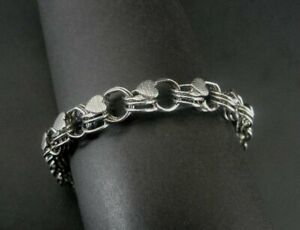 "A & Z Charm Bracelet Sterling Silver 925 Double Link Hearts 7 1/4"" Long Bracelet"