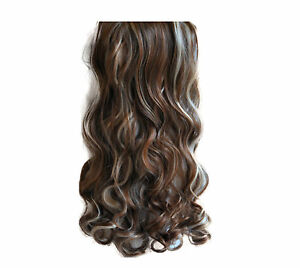 """20/22"""" Clip in Hair Extensions CURLY Medium Brown/Blonde Mix #6/613 FULL HEAD"""