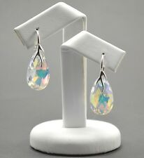 925 Silver Earrings made with  Swarovski Crystals 22mm PEAR - Crystal AB
