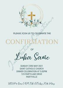 DIY Print Custom GIRLS BOYS CONFIRMATION RELIGIOUS MINT Party Invitation