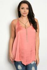 NEW..Plus Size Stylish Sassy Pink Singlet Top with Gold Necklace.Sz16/2xl