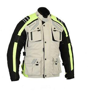 BUSA Bikers Gear GloRider Waterproof Thermal CE Armour Motorcycle Jacket Hi Viz