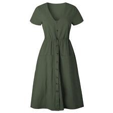 UK Women's Summer Short Sleeve V Neck Button Deco Swing Midi Dress with Pockets