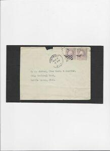 US Entire A140 Coil Pair Vertical perf 3 cents Light Purple pmk 3-2-1925 Detroit