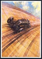 MOUNTED PRINT by GORDON CROSBY 'Racing Car' ARTIST. Free UK Postage (1002)