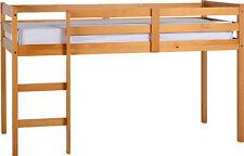Kids 3ft Single Mid Sleeper Pine Wood Bed Frame Children Mid Sleeper Bunk Wooden