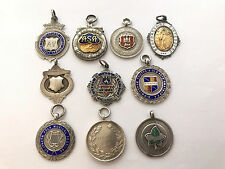 Ten Sterling Silver Fob Medals