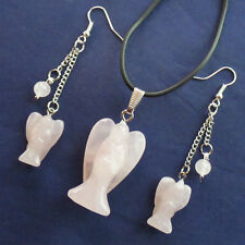 W5864 Rose Quartz Carved Angel Necklace Earring Set