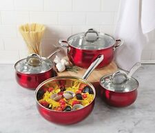 Oster 7 Piece Verdone Cookware Set with Metallis Red Exterior, Stainless Steel
