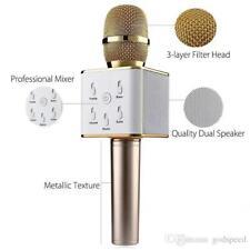 Q7 Wireless Bluetooth Karaoke Mic-Microphone with Speaker + Condenser - Gold