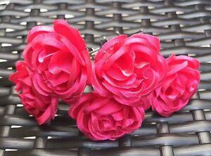 5 Bridal Wedding Fuchsia Pink Rose Flower Hair Pins Clips Grips handmade
