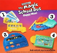 McDonald's Magic School Bus MIP Complete Set of 4 Happy Meal Toys - 1994