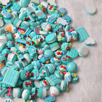 10Pcs Blue Blessing Bag Mixed Lot Cute Resin Food Candy DIY Craft Collection WG