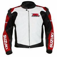 SUZUKI GSXR Biker Motorcycle Leather Jacket Men Racing Motorbike Leather Jackets