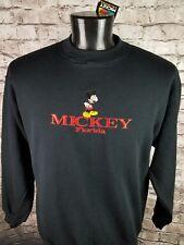 Mickey Mouse Embroidered Sweatshirt DISNEYLAND Florida Graphic Black Sz Large