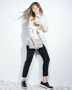 VINCE Drape-Collar Vest with Leather Trim Size XS