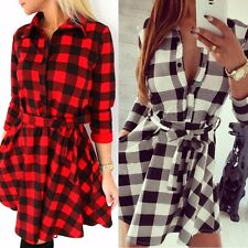 AU Women Check Shirt Mini Dress Lady Cotton Long Sleeve Plaid Romper Party Dress