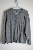 Karen Scott KS Size XL Gray Long Sleeve Button Up Long Sleeve Cardigan Sweater