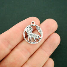 8 Wolf Charms Antique Silver Tone Full Moon - SC7128