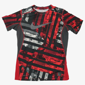 Nike Pro Combat Dri-fit  Activewear T-Shirt Red Short Sleeve Fitted Mens L