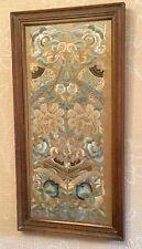 Antico Cinese seta ricamo PROIBITO Stitch filo d'oro manica bande incorniciato