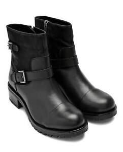 Ladies Black Leather Casual Biker Boots UK 6 EU 39