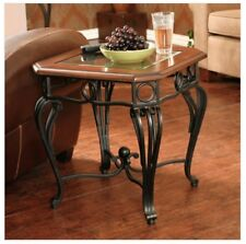 Wood And Metal Side Table End Wrought Iron Scroll Beveled Glass Top Cocktail