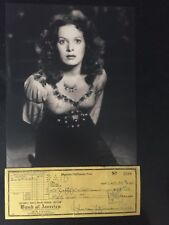 GENUINE HAND SIGNED MAUREEN O'HARA CHEQUE WITH PORTRAIT PHOTO