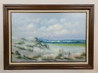 Original Vintage Signed Oil Painting on Canvas Seascape Seagulls Beach K Gorman