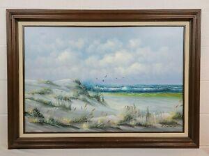Original Vintage Signed Oil Painting on Canvas Seascape Seagulls Beach K Gorman