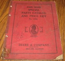 John Deere Special Parts Catalog & Price List No. 1950 Manual Book jd Vintage