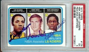 Jerry West Wilkens Archibald 1972 Topps Signed Autograph PSA/DNA Slabbed #176