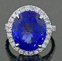 Heavy 18K WG 18.46CTW VS diamond/15.8 X 13.4mm AAA Oval tanzanite cocktail ring