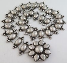 """Antique 1940s Mexico Sterling Silver Relief Domes 28.75"""" Concho Belt or Necklace"""