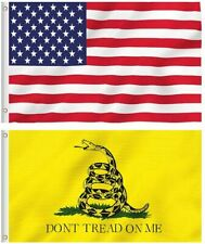 3x5FT Set USA Don't Tread On Me Flags Tea Party Gadsden United States Gift Lot