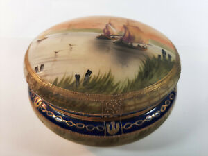 Nippon Antique Scenic hand painted River & Boats porcelain Bowl w/ Lid detailed