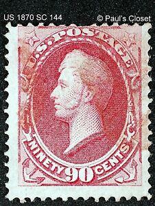 1870 ADM PERRY SC 144 90¢ CARMINE UNG HANDSTAMP RED/BLK CORK CNX W/PSE CERT