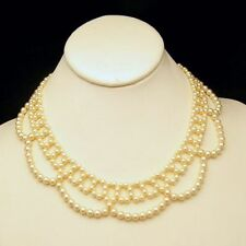 Vintage Faux Pearls Necklace Mid Century Lacy Collar Style Adjustable Length