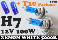 2 x H7 12V 100W Xenon White 5000k Car Head Light Lamp Globes Bulbs + T10 Parkers