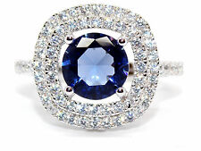 Sterling Silver Tanzanite And Diamond 3.51ct Cluster Ring (925)
