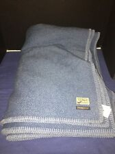 RARE Pendleton Eco-Wise Wool Washable King Blanket Blue Herringbone - LL Bean