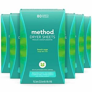 Method Dryer Sheets Fabric Softener and Static Reducer Compostable and Plant-...