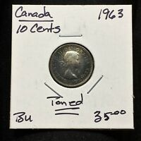 1963 CANADA 10 CENTS SILVER COIN QUEEN ELIZABETH II TONED BU