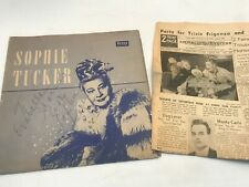 """Sophie Tucker 10"""" NO Record Decca SIGNED Autographed COVER ONLY"""