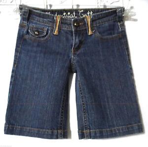 INDUSTRIAL COTTON Denim Shorts womens 3 Dark wash Flap pocket Bermuda Whipstitch