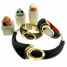 Ugo Cali Italy Fashion Jewelry Necklace Rings Bangles Orange Enamel MIXED LOT